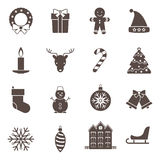 Christmas and New Year icons set with tradutional holiday vector symbols Stock Photography