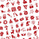 Christmas, New Year icons silhouette seamless Stock Image