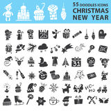 Christmas, New Year icons silhouette set Royalty Free Stock Photo