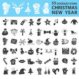 Christmas, New Year icons silhouette set Royalty Free Stock Images