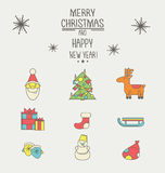 Christmas and New Year icons with a thick stroke. Set of New Year and Christmas icons in a flat style with a thick stroke Royalty Free Stock Images