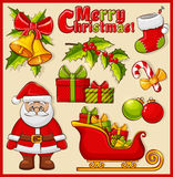 Christmas and New Year icons. Vector decoration set. Stock Photos