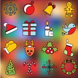 Christmas and new year icons. Vector set of winter holidays symbols, stickers, labels. Bauble, mittens, sock, candy canes and othe. Christmas and new year icons Stock Image