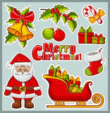 Christmas and New Year icons. Vector stickers set. Stock Photo
