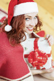 Christmas and New Year Ideas and Concepts. Smiling Caucasian Red Royalty Free Stock Images