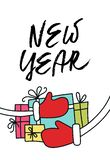 Christmas and New Year illustration with hand drawn lettering and a bunch of New Year's gifts. Vector illustration vector illustration