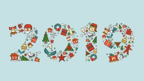 Christmas and new year illustrations for the holidays. 3D icons and patterns, Santa Flatley. Gifts and 2019 inscription royalty free stock image