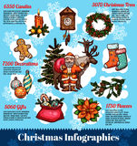 Christmas and New Year infographic design Royalty Free Stock Photos