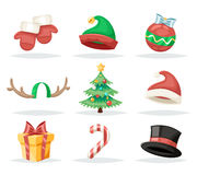 Christmas New Year Isolated Icons Set Cartoon Design Vector Illustration Stock Images