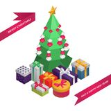 Christmas and New Year Isometric Greeting Card: Christmas Tree, Decoration, Gifts. 3D Vector Illustration EPS10 royalty free illustration