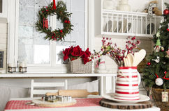 Christmas and new year kitchen with kitchen tools. Stock Photos
