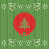 Christmas and New Year knitted label with pine. Snowflake greeting card. Stock Image