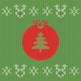 Christmas and New Year knitted label with pine. Snowflake greeting card. Stock Images