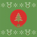 Christmas and New Year knitted label with pine. Snowflake greeting card. Royalty Free Stock Photos