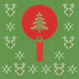 Christmas and New Year knitted label with pine. Snowflake greeting card. Christmas and New Year knitted round label with pine tree. Snowflake and deer greeting stock illustration