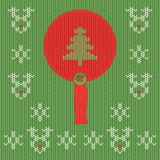 Christmas and New Year knitted label with pine. Snowflake greeting card. Christmas and New Year knitted round label with pine tree. Snowflake and deer greeting royalty free illustration
