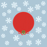 Christmas and New Year knitted label. Snowflake and greeting card. Royalty Free Stock Images