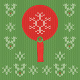 Christmas and New Year knitted label. Snowflake greeting card. Stock Images
