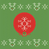 Christmas and New Year knitted label. Snowflake greeting card. Stock Photos