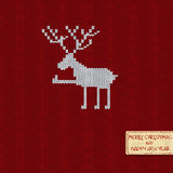 Christmas and New Year knitted pattern card Royalty Free Stock Photos