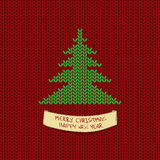 Christmas and New Year knitting card with tree Royalty Free Stock Photos