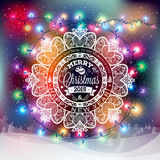 Christmas and New year label with colored lights on backgrounds. Decoration of calligraphic design with typographic labels, symbols of the year and icons Stock Photography