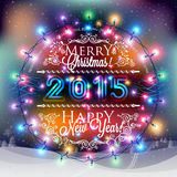 Christmas and New year label with colored lights on backgrounds Stock Photos