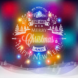 Christmas and New year label Royalty Free Stock Image