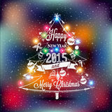 Christmas and New year label, colored lights on a Christmas tree Stock Photography