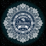 Christmas and New year label decoration of calligraphic design Royalty Free Stock Photos