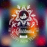 Christmas and New year label, decoration for you design Royalty Free Stock Photos