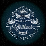 Christmas and New year label the effect of chalk for you design Stock Images