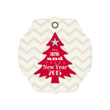 Christmas and new year 2015 label with red tree Royalty Free Stock Photo