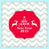 Christmas and new year 2015 label with reindeer. On chevron pattern, isolated on white background, vector illustration, eps 10 Royalty Free Stock Photos