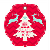 Christmas and new year 2015 label with reindeer Stock Images
