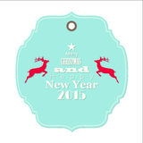 Christmas and new year 2015 label with reindeer. Isolated on white background, vector illustration, eps 10 Stock Images