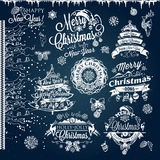 Christmas and New year labels and borders. Royalty Free Stock Images