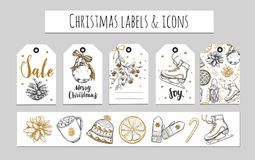 Christmas and New Year labels, gift tags and icons. Holidays decoration. Vector hand drawn illustrations and Modern Brushpen  Royalty Free Stock Photo