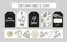 Christmas and New Year labels, gift tags and icons. Holidays decoration. Vector hand drawn illustrations and Modern Brushpen  Stock Image