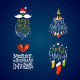 Christmas and New Year Labels Stock Photography