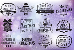 Christmas and New year labels set. Christmas design elements. Christmas hand drawn logos set. Vector winter holidays greetings Stock Photos
