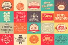 Christmas and New year labels set. Christmas design elements. Stock Photos