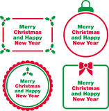 Christmas and New Year labels. Set of green and red label frames with text graphics for Merry Christmas and Happy New Year Stock Photography