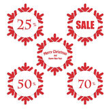 Christmas and New Year labels Stock Image