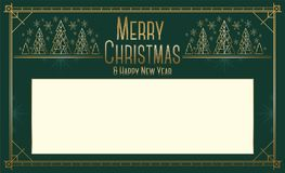 Christmas and New Year landscape greeting card design in art deco style with stylized trees. Royalty Free Stock Photos