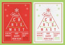 Christmas and New Year leaflet. Christmas greeting cards, New Year party. Merry Christmas vector illustration Stock Image