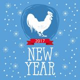 Christmas and New Year lettering calligraphy greeting card with 2017 year of the rooster. Cock silhouette on the top of illustrati Stock Photography