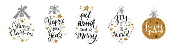 Christmas and New Year Lettering and Calligraphy phrases set stock illustration