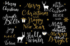 Christmas and New Year 2016 lettering collection. Merry Christmas and New Year 2016 lettering collection Stock Photography