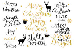 Christmas and New Year 2016 lettering collection Stock Photos